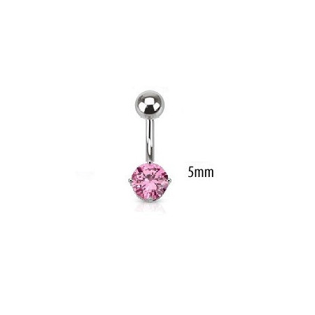 Piercing nombril solitaire rose 5mm