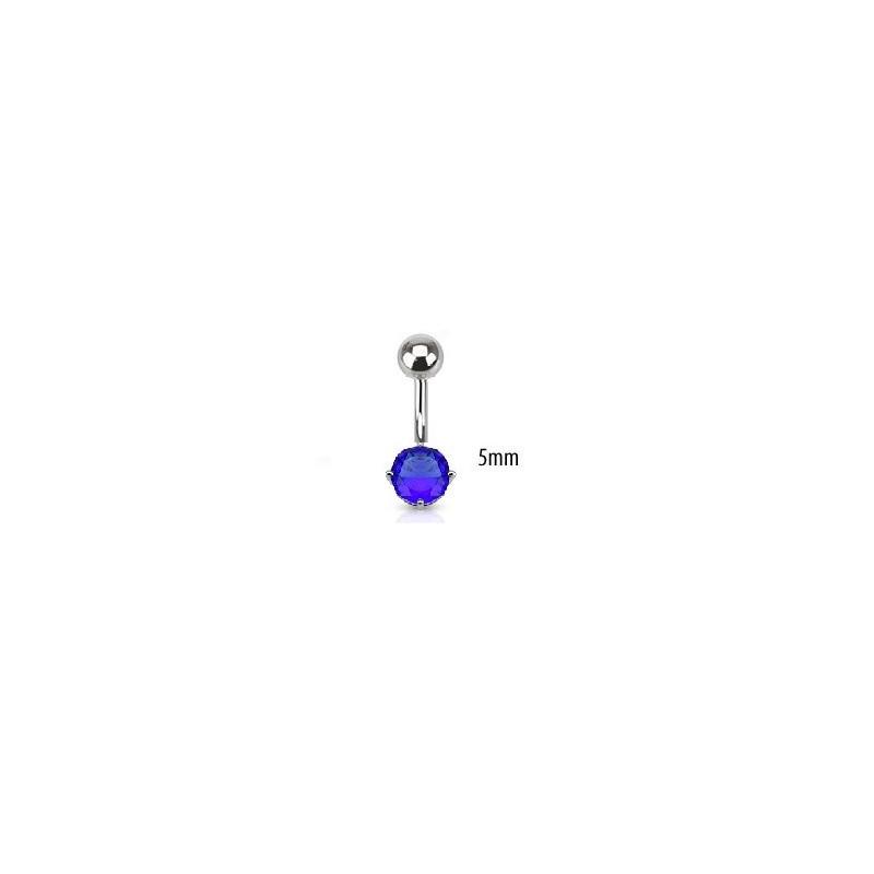 Piercing nombril acier chirurgical solitaire cristal oxyde de zirconium de 5 mm couleur bleu saphir