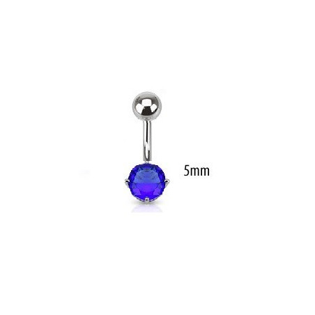 Piercing nombril solitaire bleu 5mm