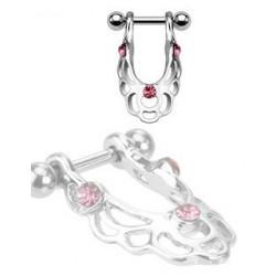 Piercing Hélix bouclier cristal rose
