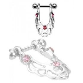 Piercing Hélix acier chirurgical bouclier pendant cristal rose pas cher