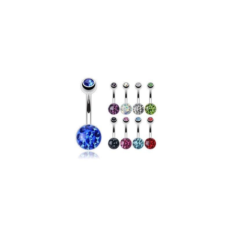 Piercing nombril acier chirurgical Multi cristaux cristal autrichien
