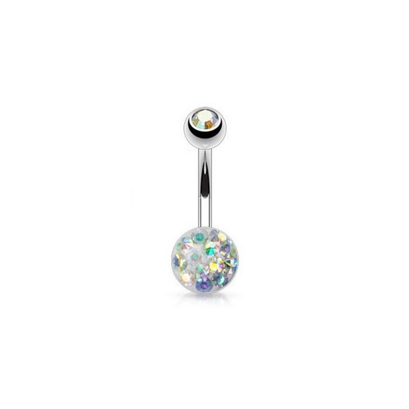 Piercing nombril acier chirurgical Multi cristaux cristal autrichien couleur blanc irisé