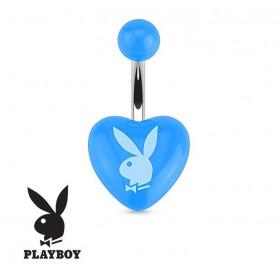 Piercing nombril barre acier chirurgical de la marque Playboy motif coeur bleu logo playboy blanc