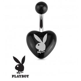 Piercing nombril barre en acier chirurgicla de la marque Playboy motif coeur Noir