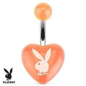 Piercing nombril marque Playboy coeur Orange en acrylique barre acier chirurgical