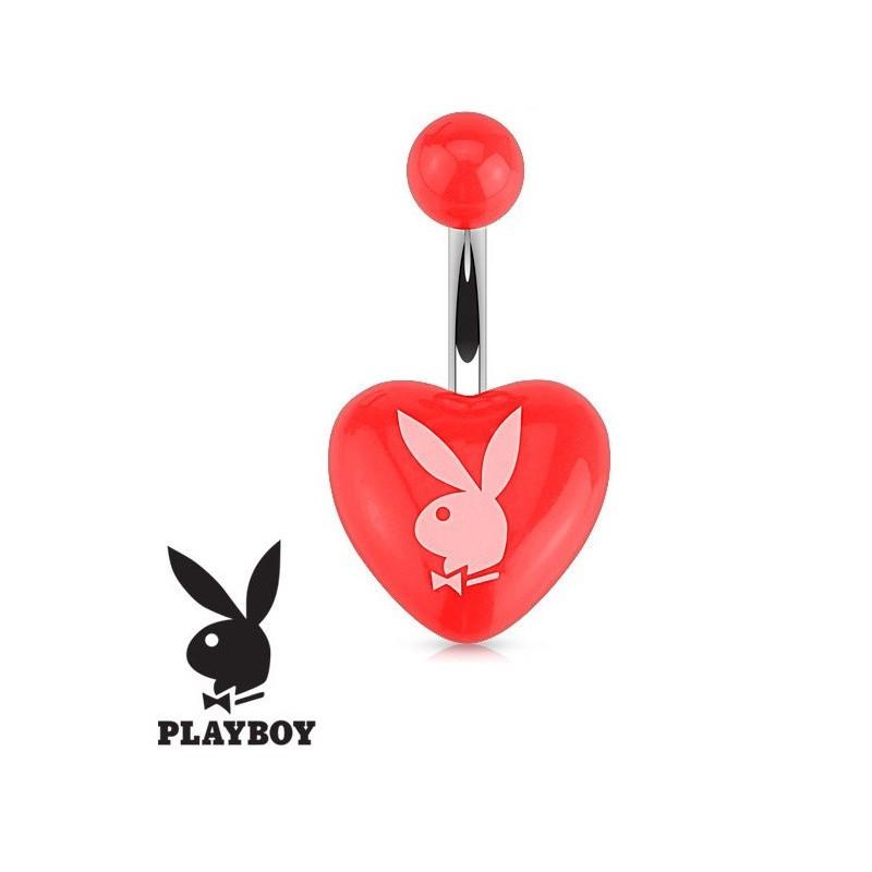Piercing nombril de la marque Playboy coeur rouge en acrylique et acier chirurgical