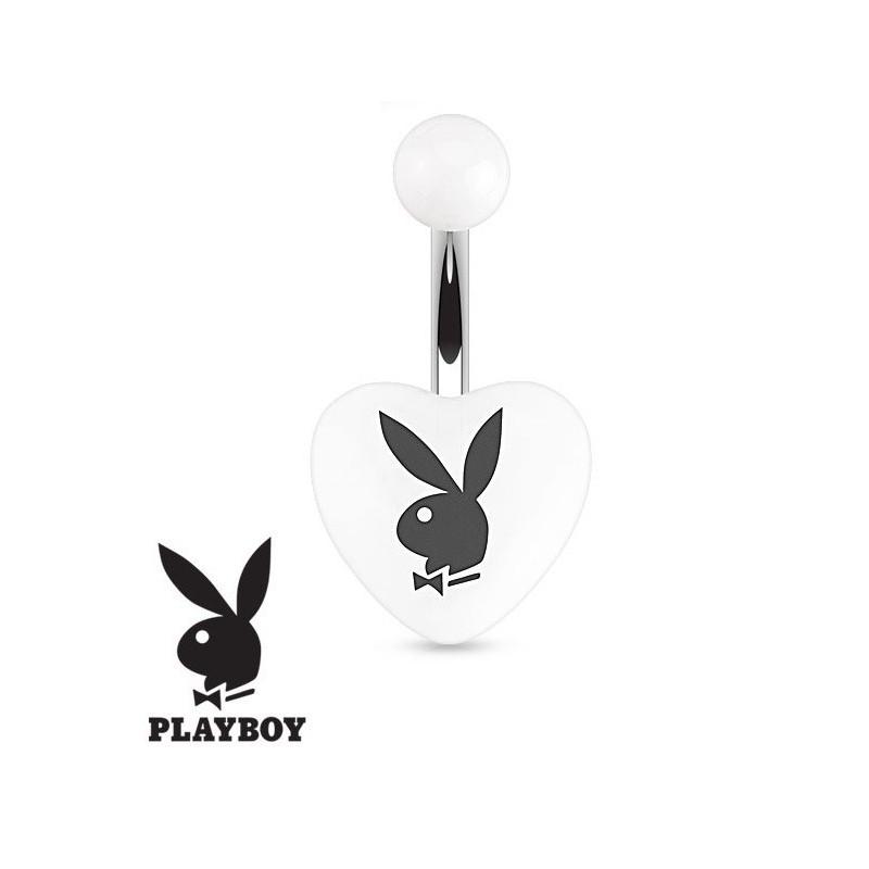 Piercing nombril marque Playboy coeur en acrylique Blanc et noir barre acier chirurgical