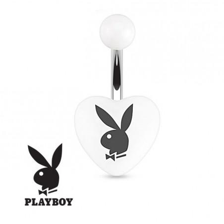 Piercing nombril Playboy coeur Blanc