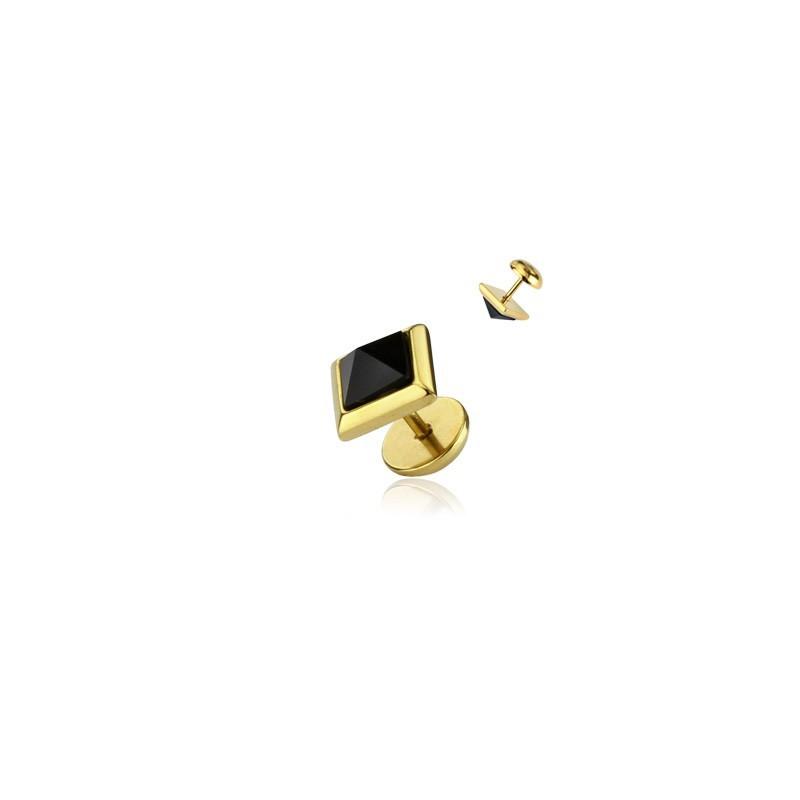 Faux piercing ecarteur plug doré acier chirurgical cristal pyramide
