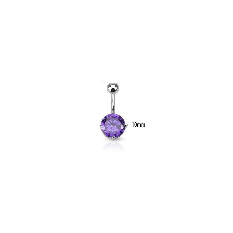 Piercing nombril barre acier chirurgical solitaire cristal couleur violet 10mm
