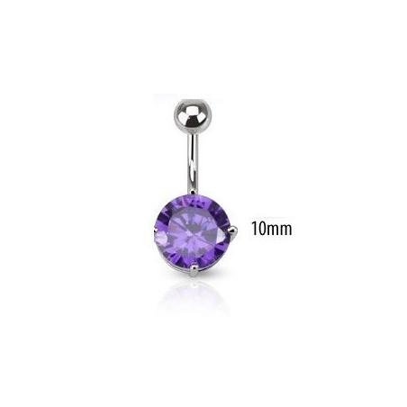 Piercing nombril solitaire violet 10mm