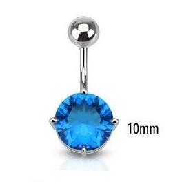 Piercing nombril barre acier chirurgical solitaire cristal couleur Bleu turqoise 10mm