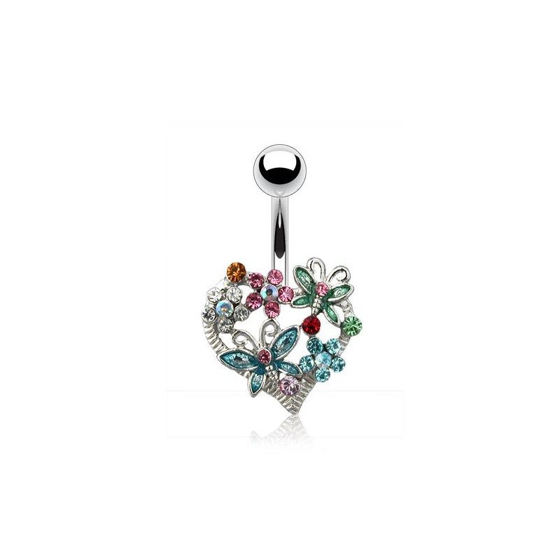 Piercing nombril acier chirurgical 316l coeur papillon fleur multicolores