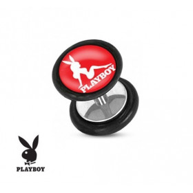 Faux piercing plug marque playboy logo pin up rose