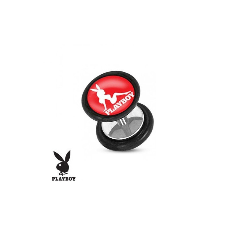 Faux piercing plug marque playboy logo pin up rose
