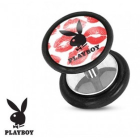 Faux piercing en acier chirurgical plug marque playboy logo Kiss