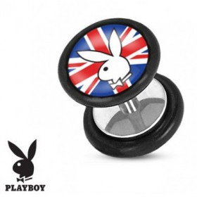 Faux piercing plug de la marque playboy logo drapeau Royaume unis