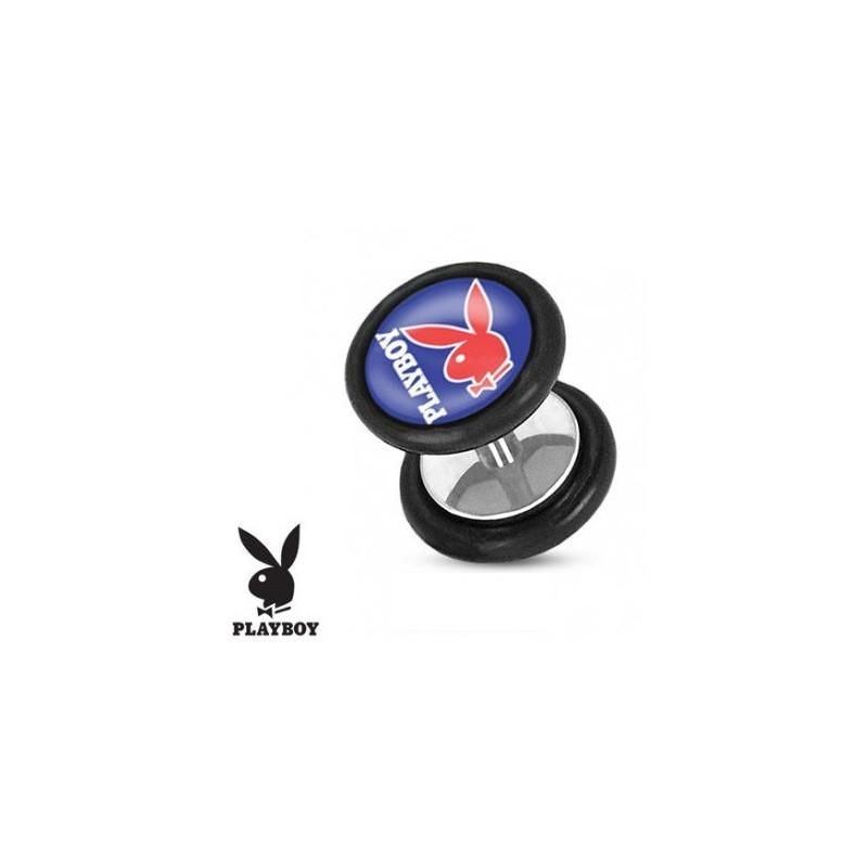 Faux piercing plug acier chirurgical marque playboy logo bleu et rouge