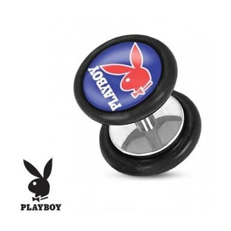 Faux piercing plug playboy bleu et rouge