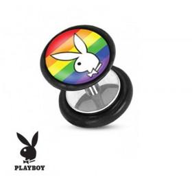 Faux piercing plug playboy logo lapin blanc drapeau Gaypride