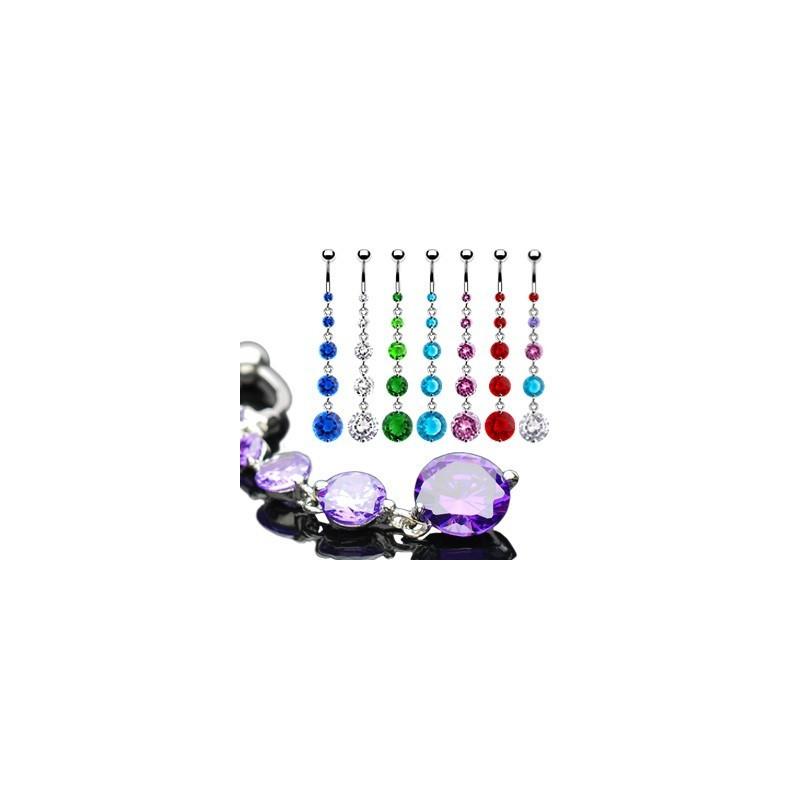 Piercing nombril sexy acier chirurgical long pendentif Cascade cristal couleur