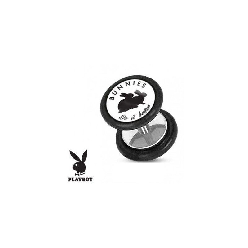 Faux piercing plug acier chirurgical playboy logo lapin Do it better