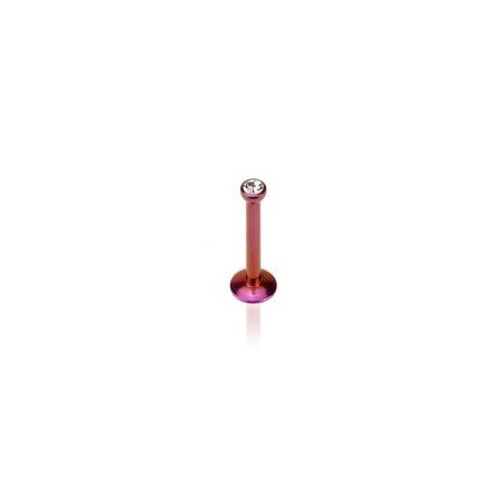 Piercng labret micro strass tragus oreille hélix en titane anodisé couleur violet