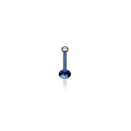 Piercing labret titane anodisé Bleu