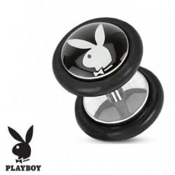 Faux piercing plug playboy noir et blanc