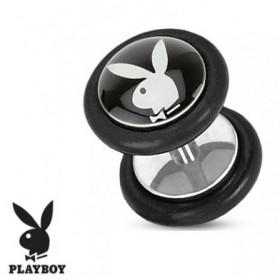 Faux piercing plug ecarteur marque playboy logo noir et blanc
