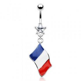 Piercing nombril acier chirurgical pendentif drapeau de la france bleu blanc rouge pas cher