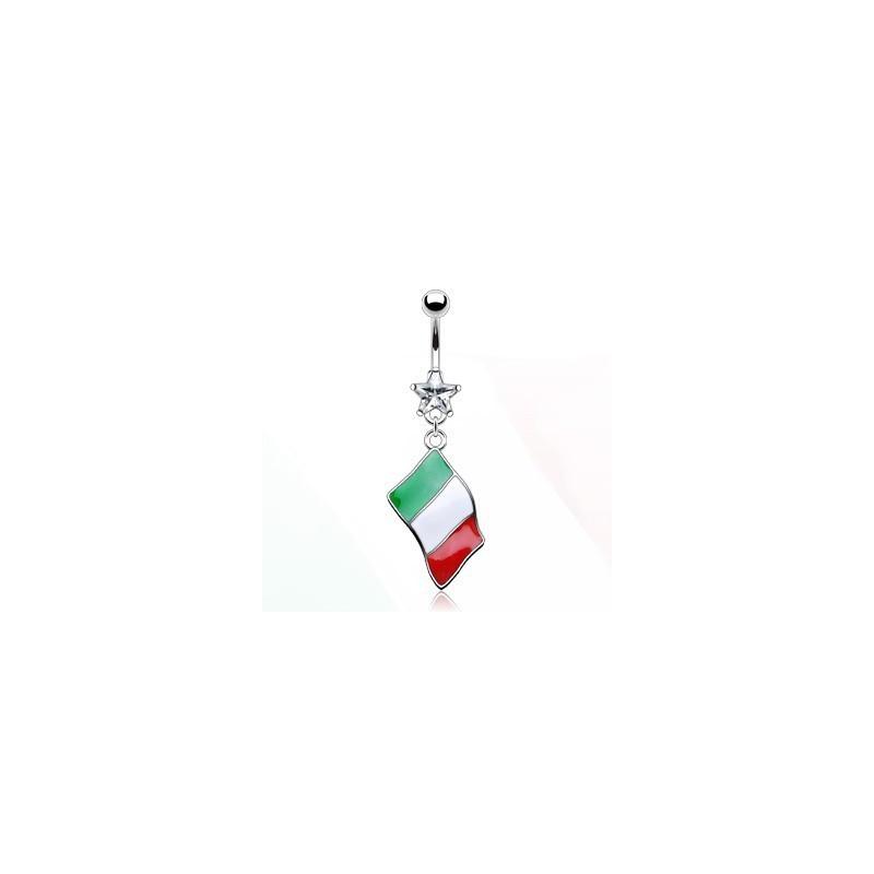 Piercing nombril pendentif pays drapeau Italie