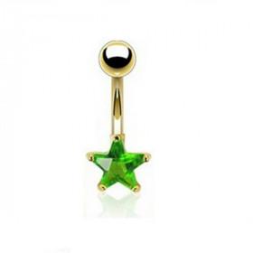 Piercing nombril simple plaqué or motif étoile doré cristal vert
