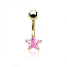 Piercing nombril plaqué or motif étoile doré cristal couleur Rose