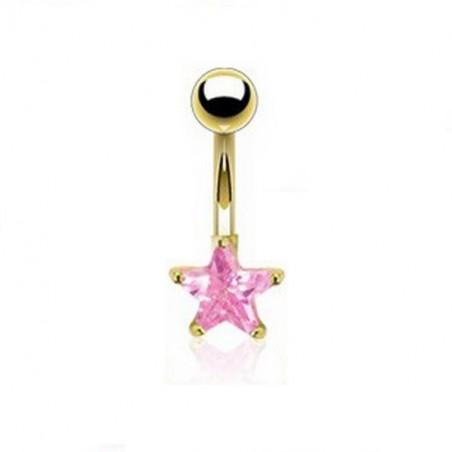Piercing nombril étoile doré cristal Rose