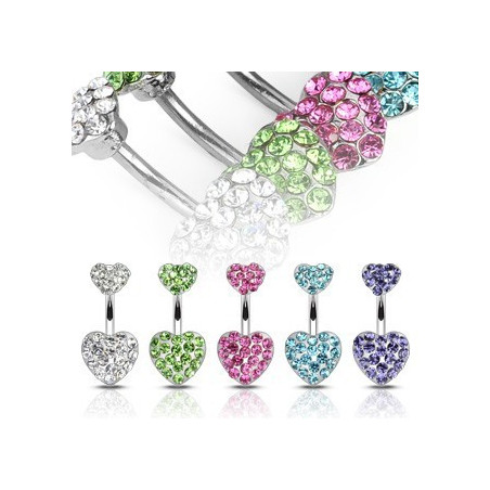 Piercing nombril double coeur cristal