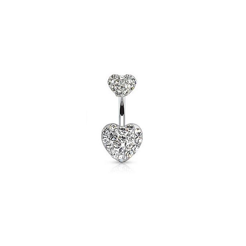 Piercing nombril barre acier chirurgical double coeur strass de couleur blanc diamant pas cher