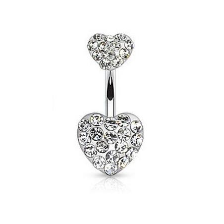 Piercing nombril double coeur cristal blanc