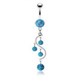 Piercing nombril en acier chirurgical pas cher pendentif vigne pierre semi-précieuse turquoise