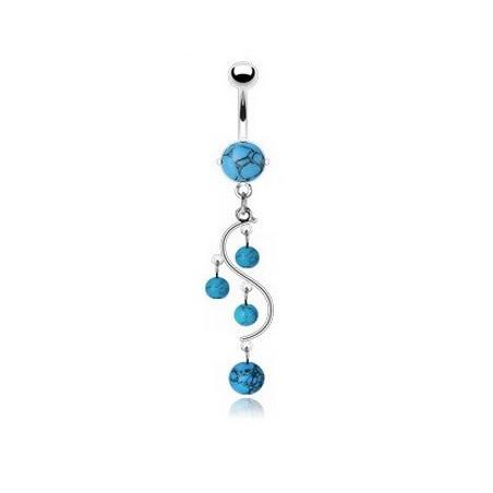Piercing nombril vigne pierre Turquoise