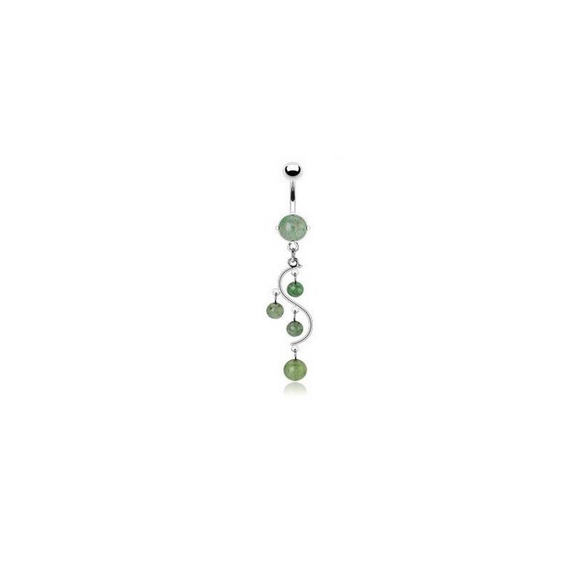 Piercing nombril en acier chirurgical pendentif vigne pierre semi-précieuse jade
