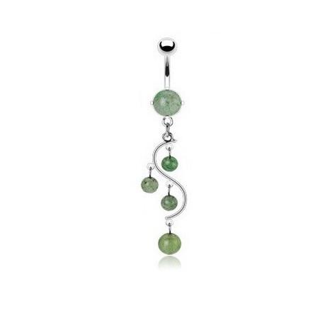 Piercing nombril vigne pierre Jade