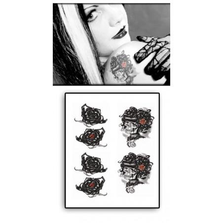 Tatouage Temporaire Goth Rose noire