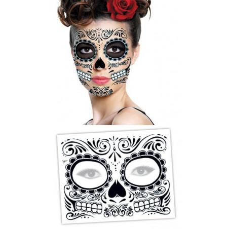 Tattoo Masque noir Visage Dia de los Muertos