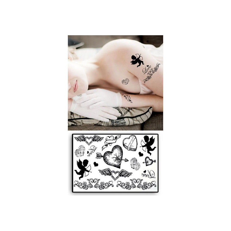 Tatouages Temporaires Coeurs et Cherubins