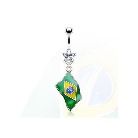 Piercing nombril pendentif drapeau Brésil