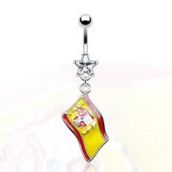 Piercing nombril pendentif drapeau Espagne