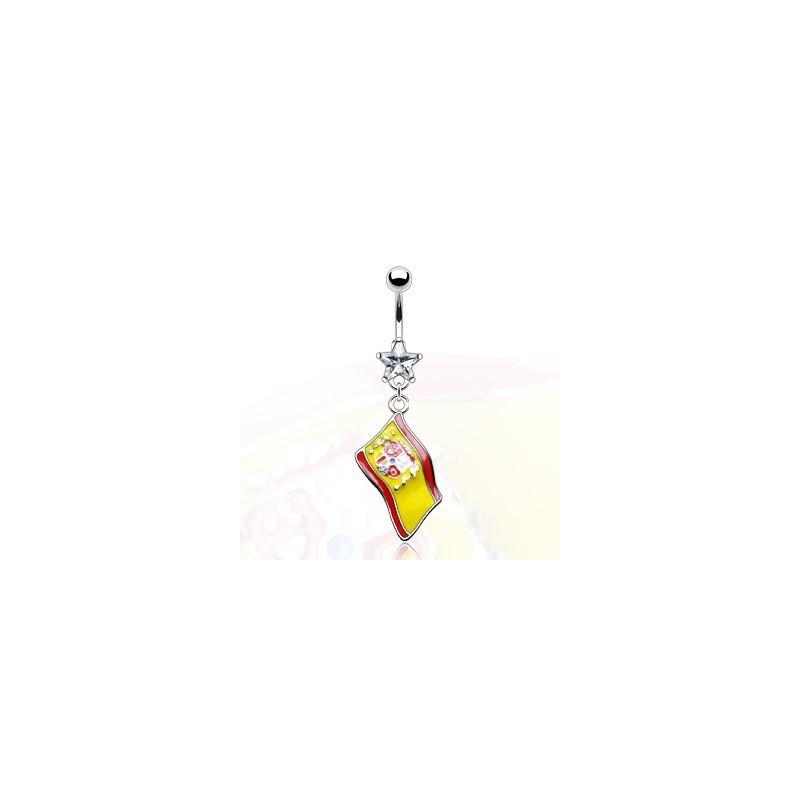Piercing nombril pendentif drapeau de l'Espagne