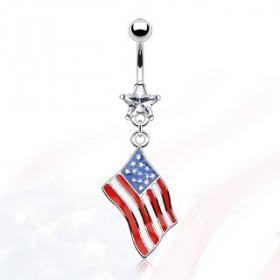 Piercing nombril pendentif drapeau pays USA etats unis d'Amérique